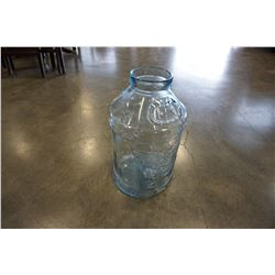 LIBBEY GLASS EMBOSSED EAGLE BLUE GLASS 5 GALLON MILK JAR