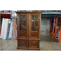 ASHLEY FLOOR MODEL 2 PIECE ILLUMINATED GLASS DOOR DISPLAY PIER UNIT, RETAIL $2749