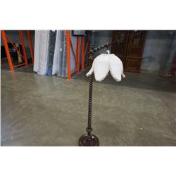 WOODEN FLOOR LAMP W/ FLOWER SHADE