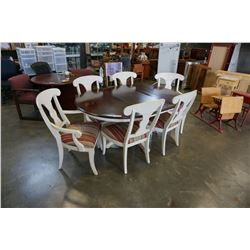 ROUND ETHAN ALLEN DINING TABLE W/ 6 CHAIRS, LEAF, AND PADS