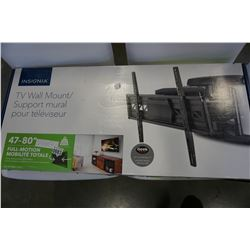 NEW OVERSTOCK INSIGNIA 47 TO 80 INCH FULL MOTION TV WALL MOUNT, 110LB CAPACITY