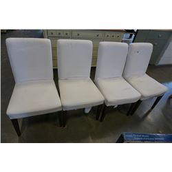 SET OF 4 WHITE UPHOLSTERED DINING CHAIRS