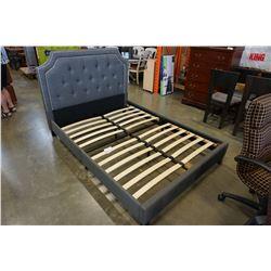 GREY TUFFTED FABRIC PLATFORM BED
