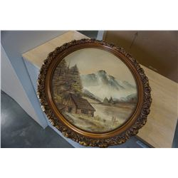 OIL ON CANVAS OVAL PICTURE IN GILT FRAME
