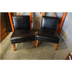 2 BLACK OVERSIZED LEATHER CHAIRS