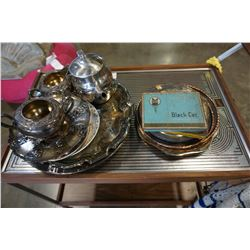 LOT OF SILVER PLATE AND CIGARETTE TINS