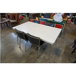 MID CENTURY MODERN DINING TABLE AND 4 BLACK AND YELLOW LEATHER CHAIRS