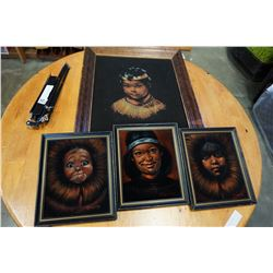 3 VELVET NATIVE PICTURES AND MUSIC STAND