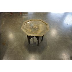 BRASS TOP FOLDING END TABLE