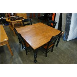 MAPLE TOP BLACK BASE DINING TABLE AND LEAF W/ 4 CHAIRS