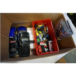 BOX OF HOTWHEELS AND DIE CAST CARS AND MINI HOCKEY JERSEYS