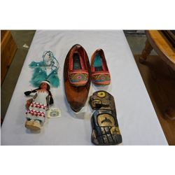FIRST NATIONS SLIPPERS, SMALL CAR TOTEM, AND BOWL W/ DREAMCATCHER