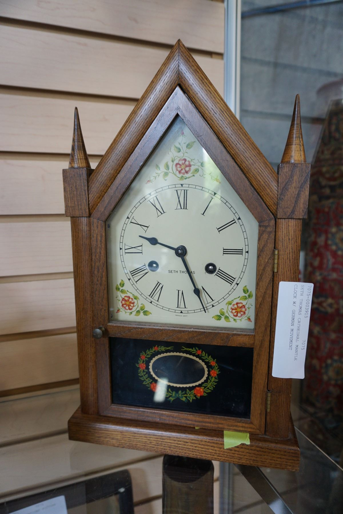 SETH THOMAS CATHEDRAL MANTLE CLOCK W/ GERMAN MOVEMENT
