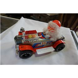 VINTAGE SANTA RACECAR TOY - WORKING