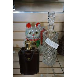 GLASS WHISKEY FLASK W/ LEATHER CASE, CZECHOSLOVAKIAN BOTTLE, AND EASTERN CAT