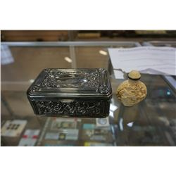 METAL JEWELRY BOX AND RESIN BOTTLE