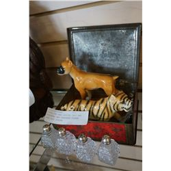 STERLING AND CRYSTAL SALT AND PEPPERS AND SHAFFORD TIGER AND DOG FIGURE