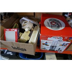 MAGIC BULLET MIX SYSTEM AND BOX OF HOUSEWARES