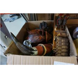 BOX OF COLLECTIBLES INCLUDING HORSE-DRAWN CARRIAGE