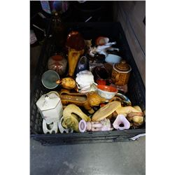BLACK CRATE OF POTTERY, VASES, AND FIGURES