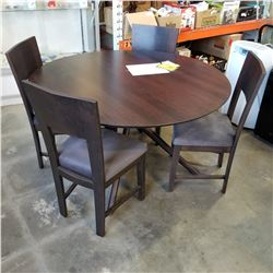 "NEW AMELIA SOLID CHERRYWOOD DINING SET, 54"" PEDESTLE TABLE AND 4 KERRISDALE UPHOLSTERED SIDE CHAIRS"