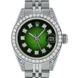 Rolex Ladies Stainless Steel Green Vignette Diamond Lugs & Datejust Wristwatch