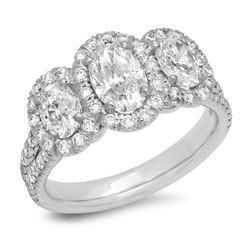 14K Yellow Gold 1.50CTW Diamond Ring, (VS2-SI1/VS2-SI1/F-G)