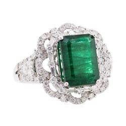 5.04 ctw Emerald and Diamond Ring - 14KT White Gold