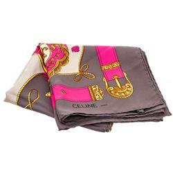 Celine Pink Gray Gold Royal Crest Silk Scarf