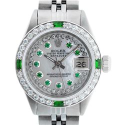Rolex Ladies Stainless Steel MOP Emerald & Diamond Datejust Wristwatch