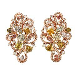 18k Three Tone Gold 5.64CTW Multicolor Dia, Pink Diamond and Diamond Earrings, (