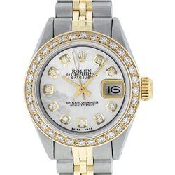 Rolex Ladies 2 Tone 14K MOP Diamond Datejust Wristwatch