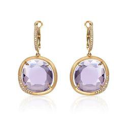 14k Rose Gold 12.66CTW Diamond and Amethyst Earrings, (I1/I)
