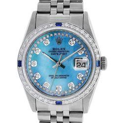 Rolex Mens Stainless Steel Blue String Diamond & Sapphire Datejust Wristwatch