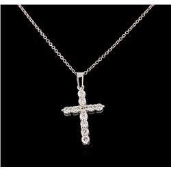 0.70 ctw Diamond Pendant With Chain - 14KT White Gold