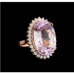 33.17 ctw Kunzite and Diamond Ring - 14KT Rose Gold