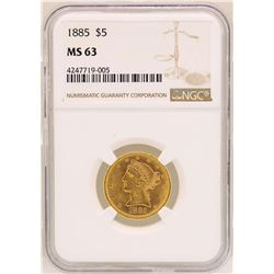 1885 $5 Liberty Head Half Eagle Gold Coin NGC MS63