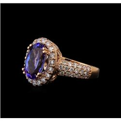 3.31 ctw Tanzanite and Diamond Ring - 14KT Rose Gold