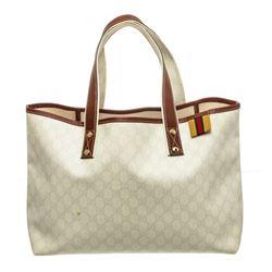 Gucci Cream GG Supreme Canvas Web Tote Handbag