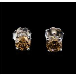 14KT White Gold 0.86 ctw Fancy Brown Diamond Stud Earrings