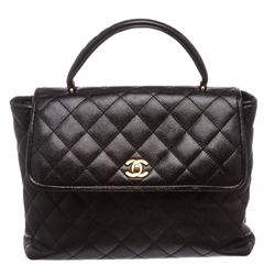 Chanel Black Caviar Kelly Jumbo Flap Satchel Bag