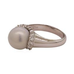 0.40 ctw Diamond and Pearl Ring - 18KT White Gold