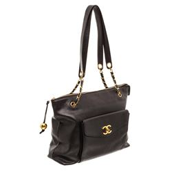 Chanel Black Caviar Leather Large Zip Tote Shoulder Bag