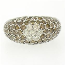 18k White Gold 3.04 ctw Dome Pave Champagne & White Diamond Band Ring