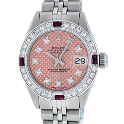 Rolex Ladies Stainless Steel Salmon Stamp Diamond & Ruby Datejust Wristwatch