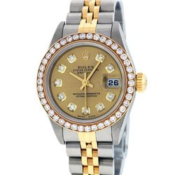 Rolex Ladies Quickset 2 Tone Champagne 1 ctw YG Diamond Datejust Wristwatch