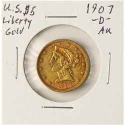 1907-D $5 Liberty Head Half Eagle Gold Coin