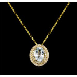 2.10 ctw Aquamarine and Diamond Pendant - 14KT Yellow Gold