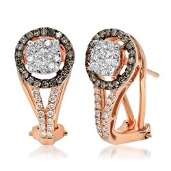 14k Rose Gold 0.61CTW Brown Diamonds and Diamond Earrings, (I1/H/Dark Brown)