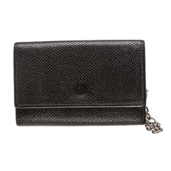 Bvlgari Black Grained Leather Six Key Holder Case